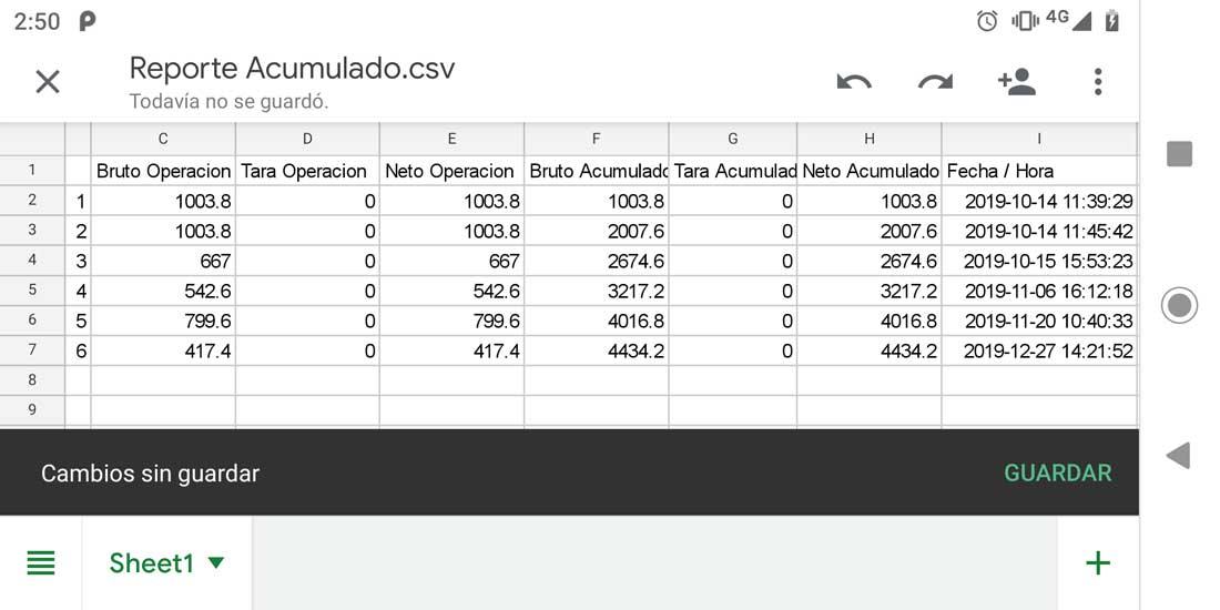 Generar reporte CSV